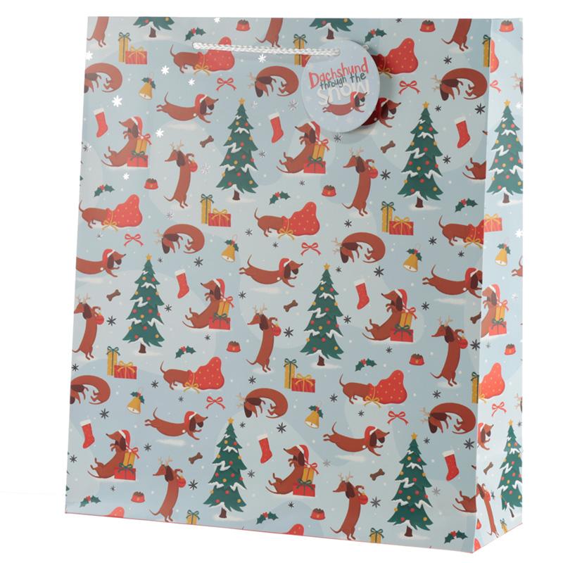 Dachshund Through the Snow Extra Large Christmas Gift Bag