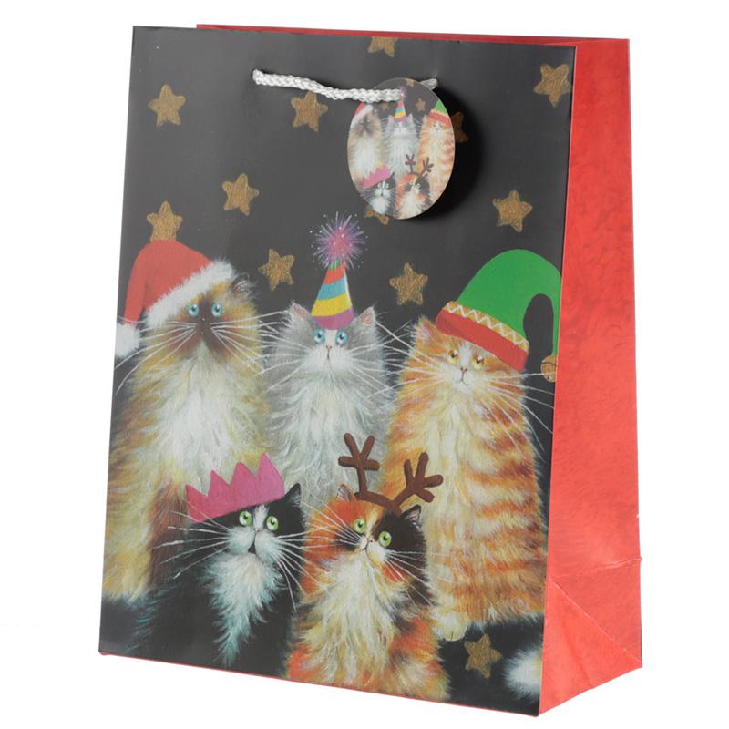Kim Haskins Cats Design Large Christmas Gift Bag