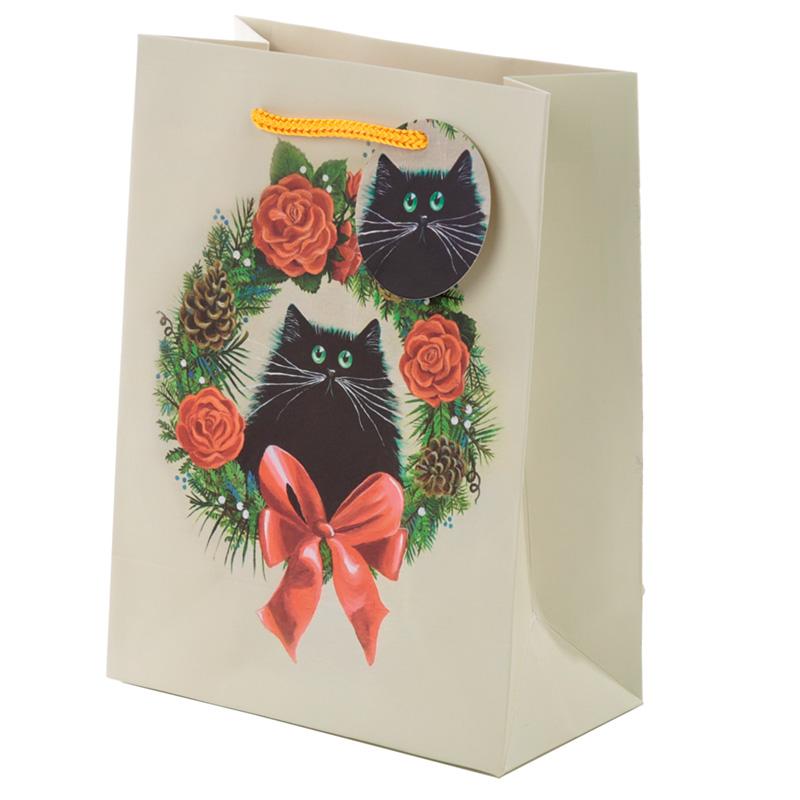 Kim Haskins Cat Christmas Wreath Medium Gift Bag