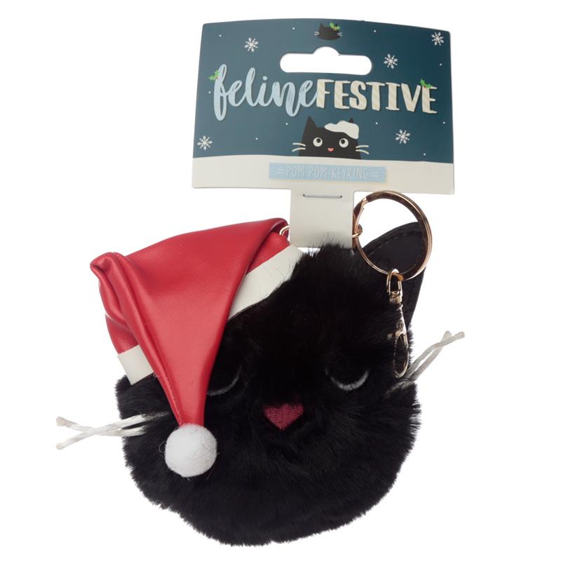Fun Collectable Pom Pom Keyring Christmas Festive Feline