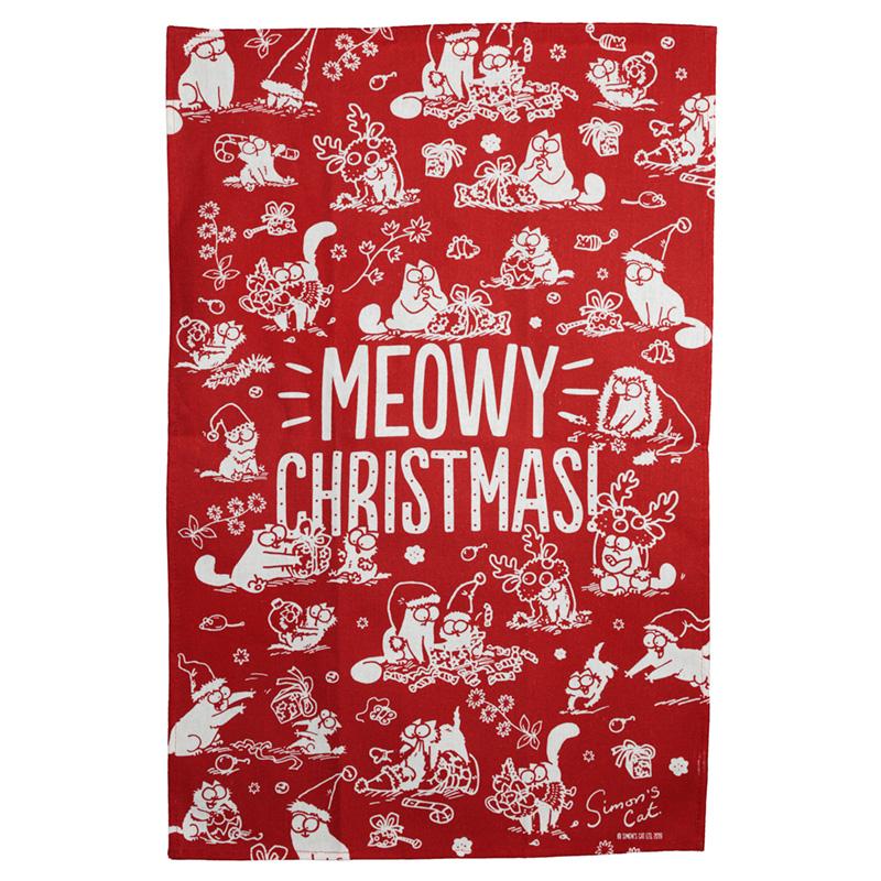 Simons Cat Meowy Christmas Poly Cotton Tea Towel