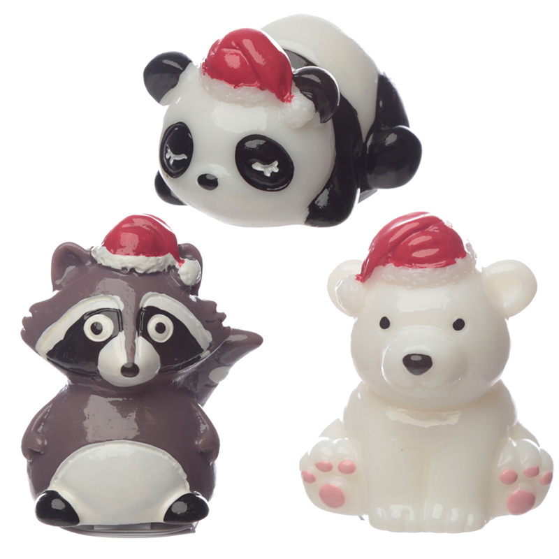 Lip Balm Christmas Panda Bear and Raccoon