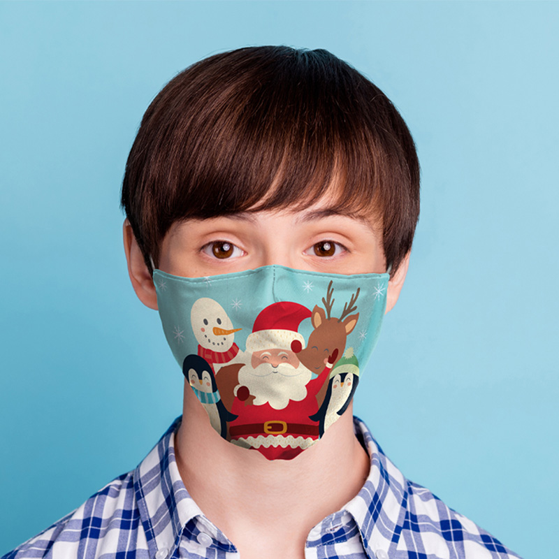 Jingle Bells Christmas Characters Reusable Face Covering Small