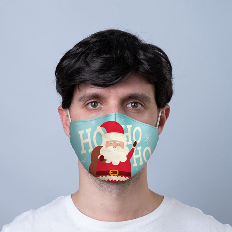 Ho Ho Ho Christmas Santa Reusable Face Covering Large