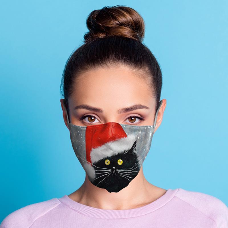 Kim Haskins Christmas Black Cat Reusable Face Covering Large