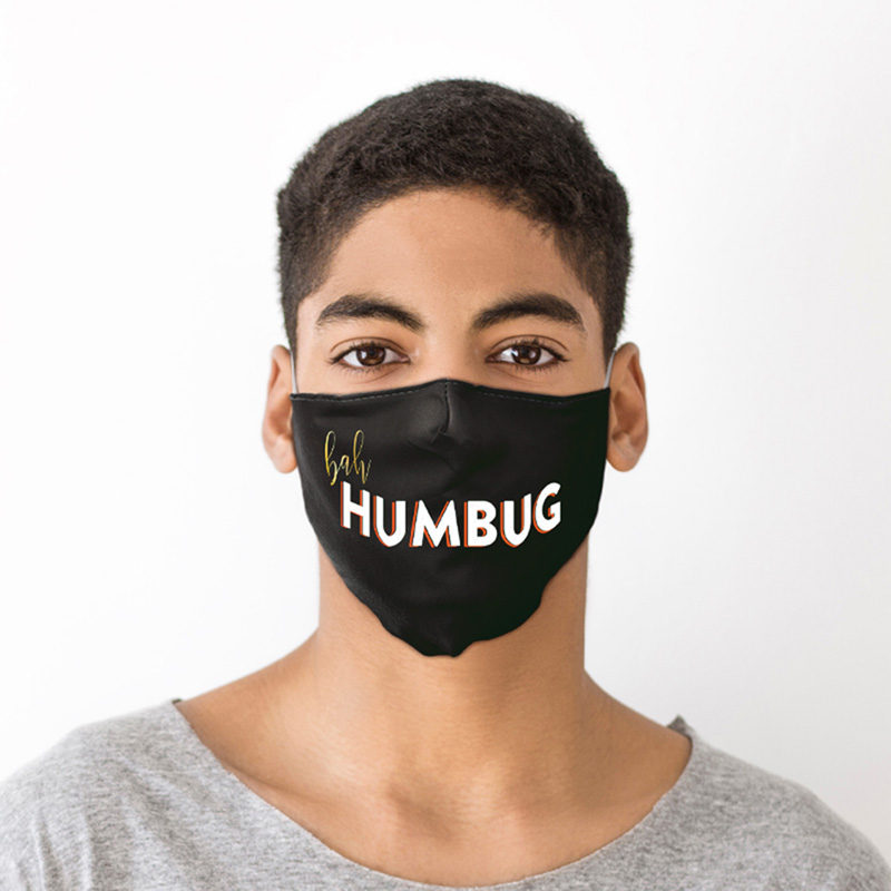 Bah Humbug Black Christmas Face Covering Large