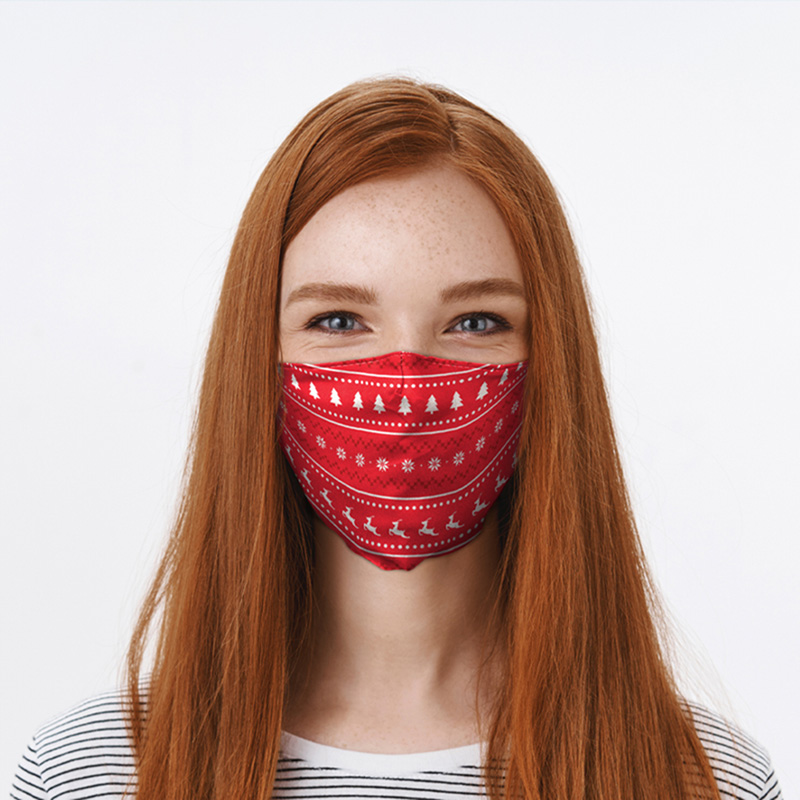 Red Christmas Jumper Pattern Face Covering Large