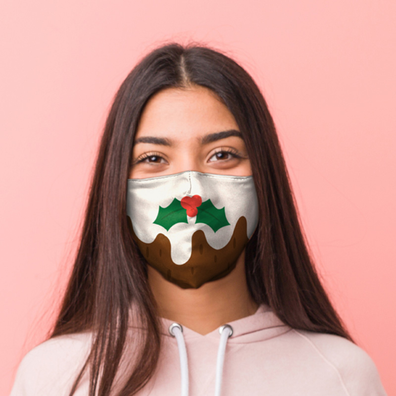 Christmas Pudding Face Covering Large