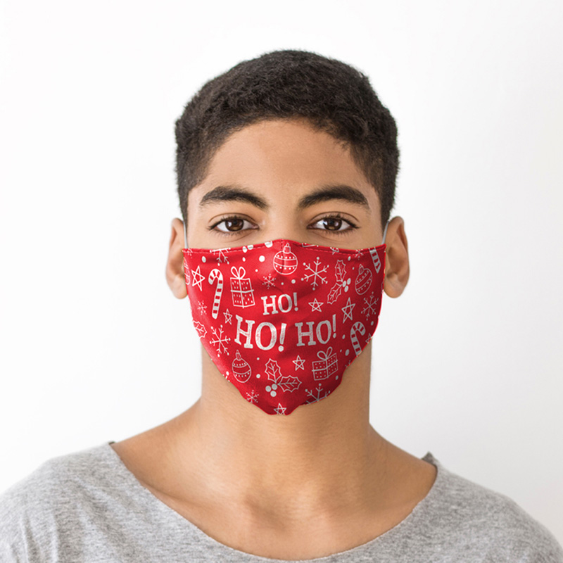 HO HO HO Red Christmas Icons Face Covering Large