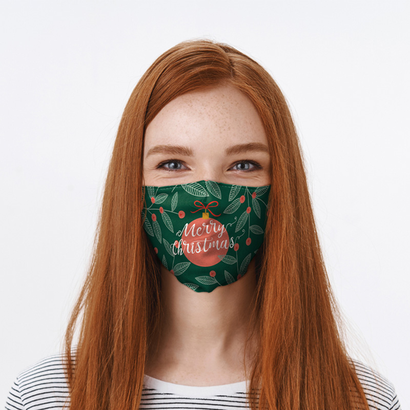 Merry Christmas Mistletoe Bauble Face Covering Large