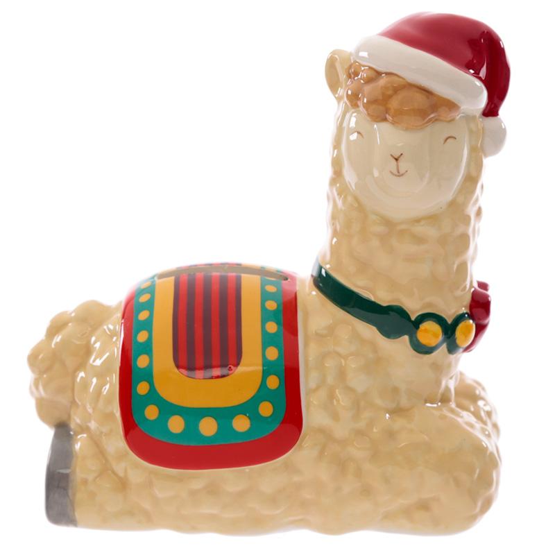 Collectable Ceramic Christmas Llama Festive Friends Money Box