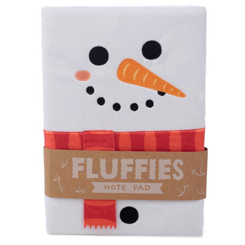 Fluffy Plush Notebook Christmas Snowman