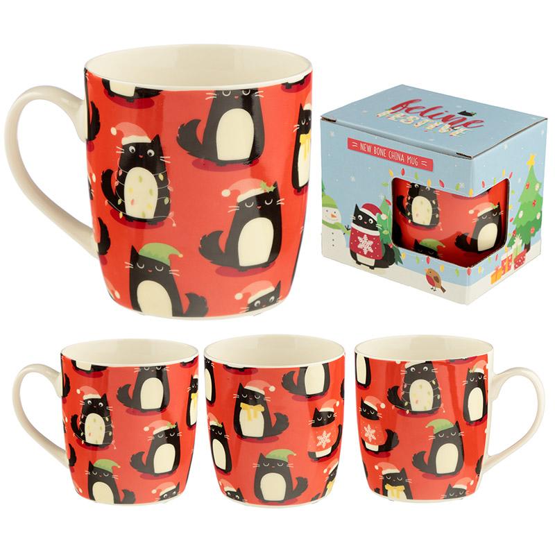Christmas Porcelain Mug Feline Festive Cat