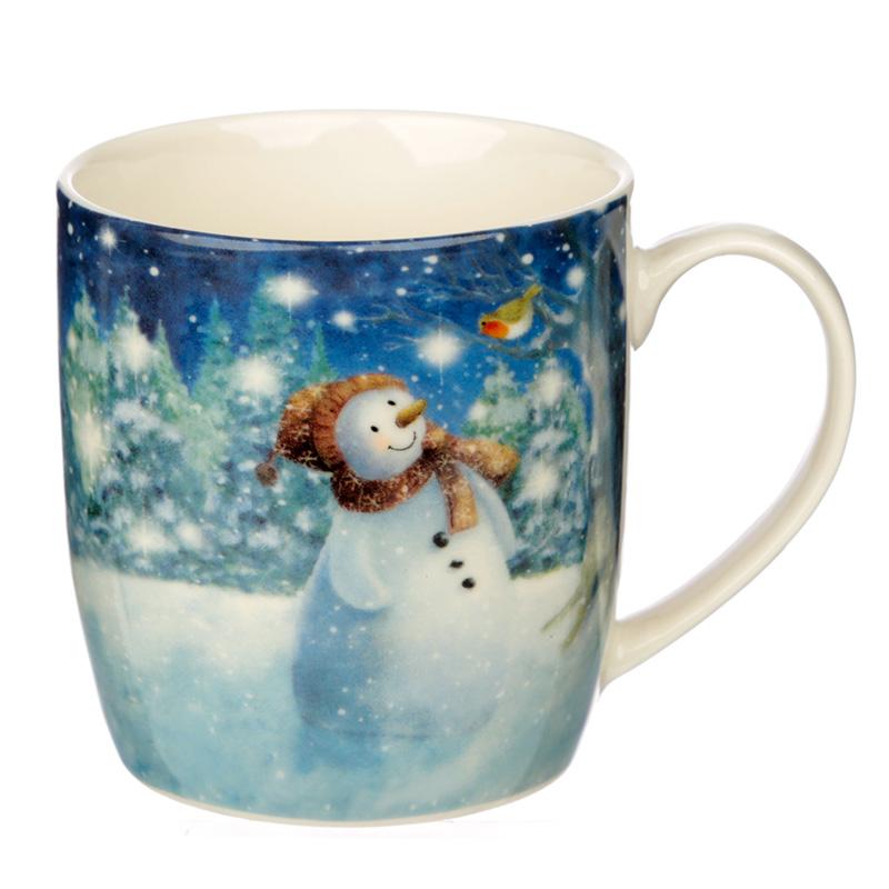 Christmas Porcelain Mug Jan Pashley Snowman Design