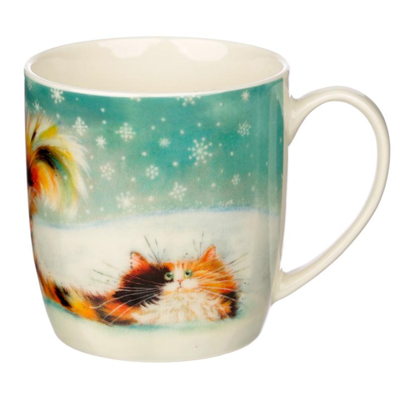 Christmas Porcelain Mug Kim Haskins Ginger Cat
