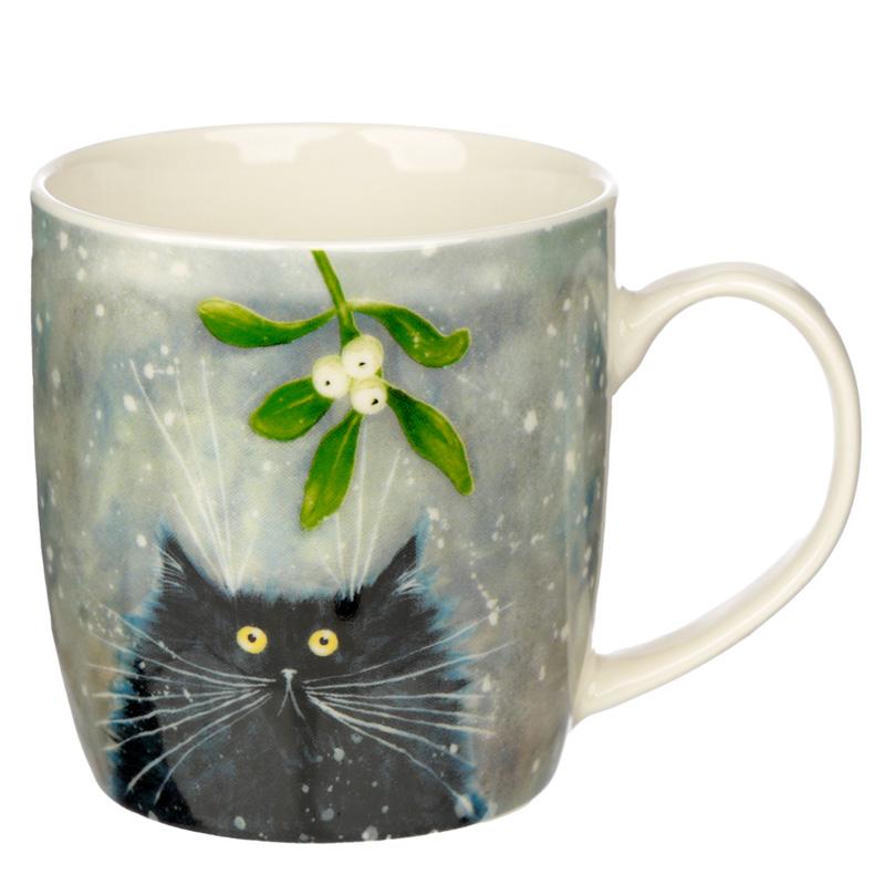 Christmas Porcelain Mug Kim Haskins Mistletoe Cat