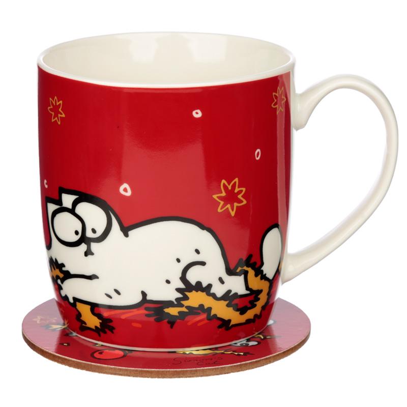 Christmas Porcelain Mug  Coaster Set Simons Cat