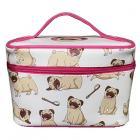Mopps Pug Zip Around Make-up Bag with Handle