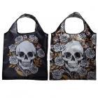 Handy Fold Up Skulls & Roses Shopping Bag with Holder