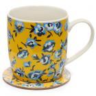 Porcelain Mug and Coaster Gift Set - Buttercup Peony