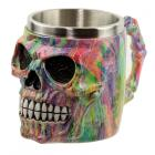 Collectable Decorative Rainbow Marble Effect Skull Tankard