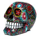 Day of the Dead Floral Print Skull Ornament