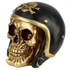 Gold Skull in Biker Helmet Ornament