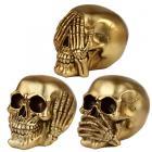 Set of 3 Hear No Speak No See No Evil Gold Skulls